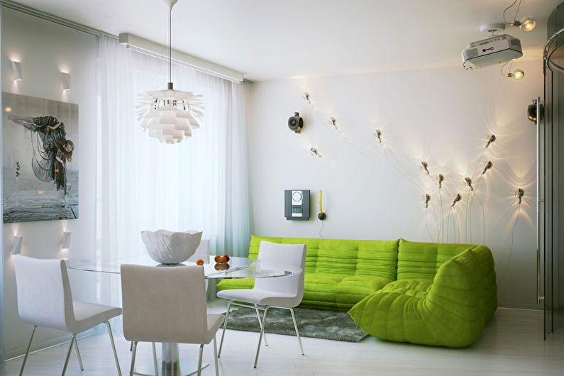 Дизайн гостиной 20 кв.м. в белом цвете