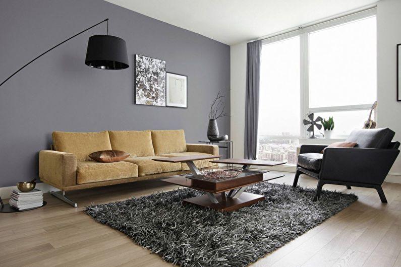 Дизайн гостиной 20 кв.м. в сером цвете