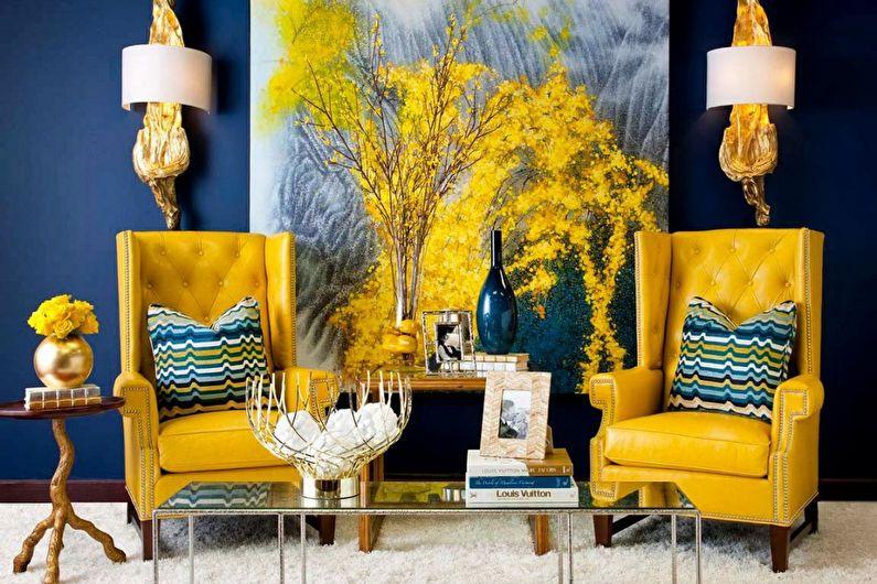 Дизайн гостиной 20 кв.м. в синих тонах