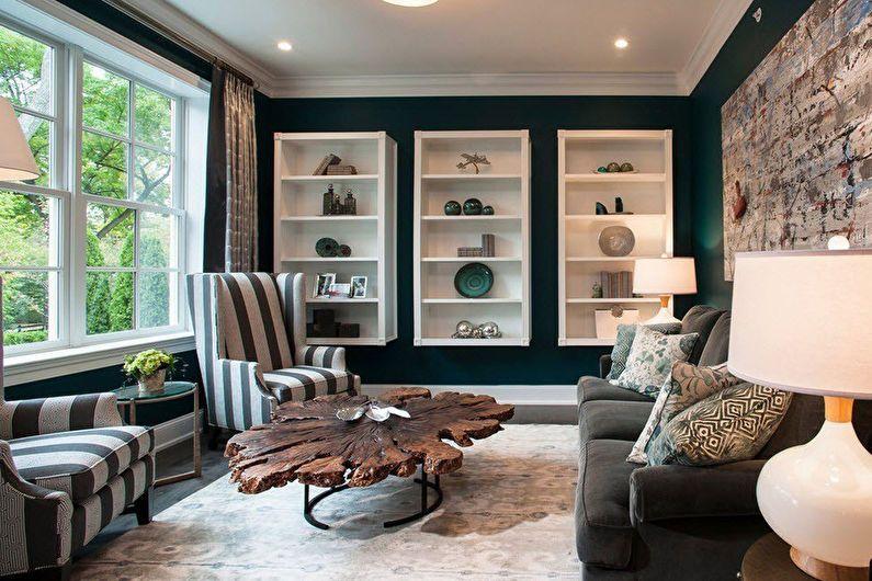 Дизайн гостиной 20 кв.м. в темных насыщенных тонах