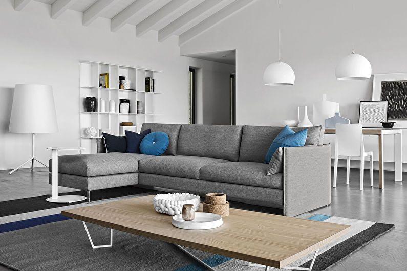 Дизайн гостиной 20 кв.м. - отделка стен