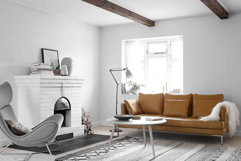 Дизайн гостиной 20 кв.м. - отделка потолка