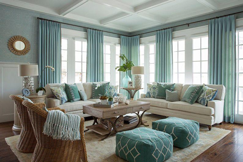 Дизайн гостиной 20 кв.м. - текстиль