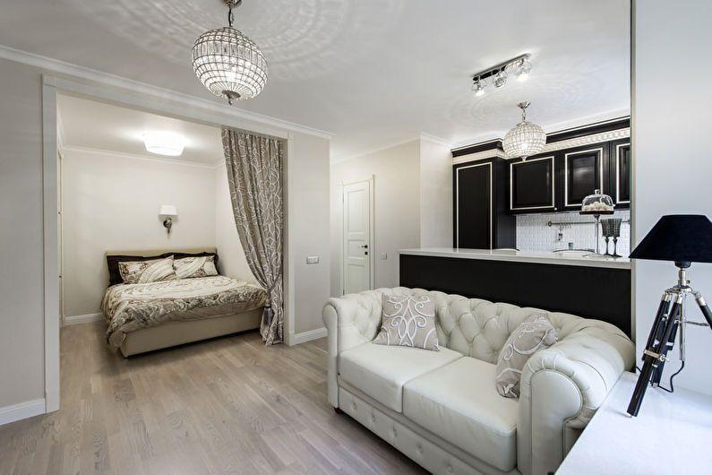 Дизайн квартиры-студии в классическом стиле