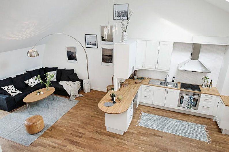 Дизайн кухни-гостиной в квартире-студии