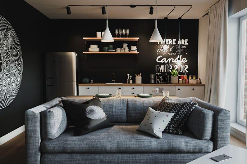 Дизайн квартиры-студии - отделка стен