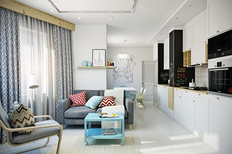 Дизайн квартиры-студии - отделка потолка