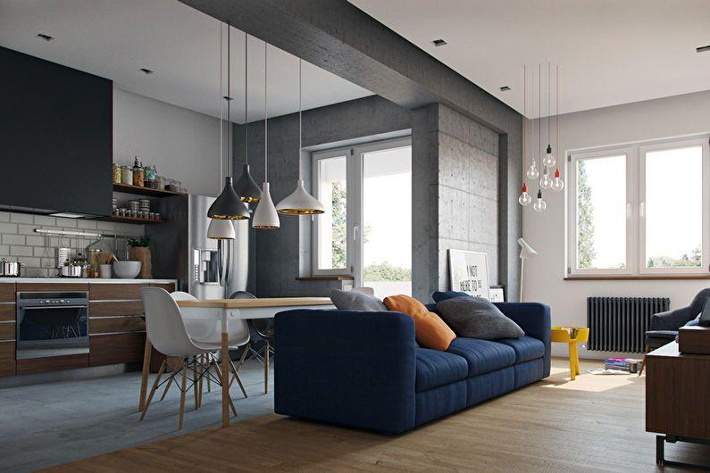 Дизайн квартиры-студии - правильное освещение