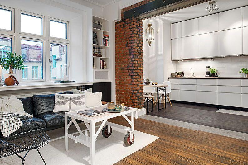 Дизайн интерьера квартиры-студии - фото