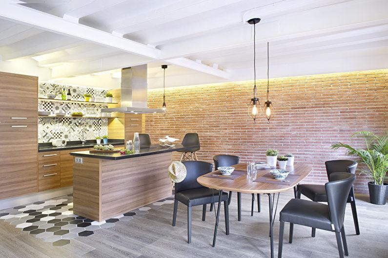 Отделка стен на кухне - Кирпич