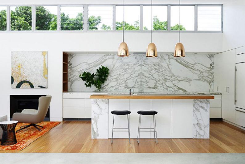 Отделка стен на кухне - Мрамор