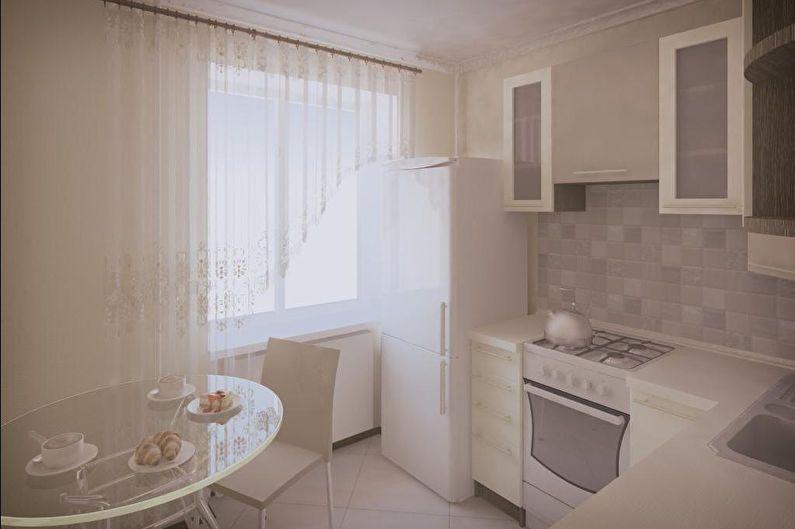 Бежевая кухня 6 кв.м. - дизайн интерьера