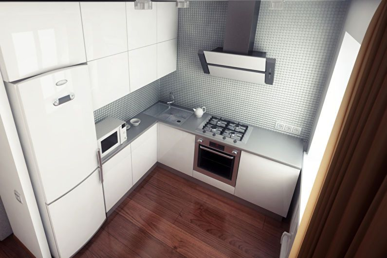 Дизайн кухни 6 кв.м. с холодильником