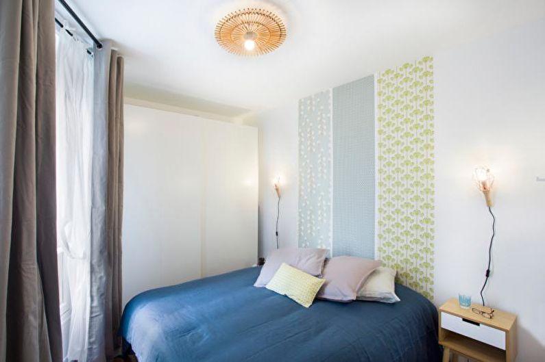 Комбинирование обоев в спальне - фото