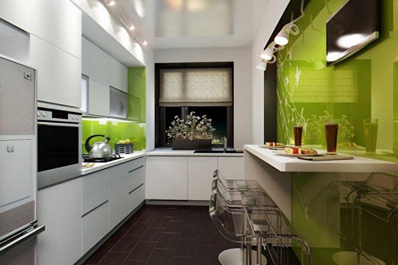 Узкая кухня в современном стиле - Дизайн интерьера