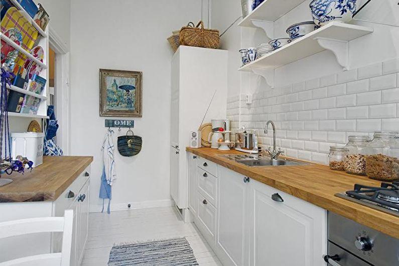 Узкая кухня в скандинавском стиле - Дизайн интерьера