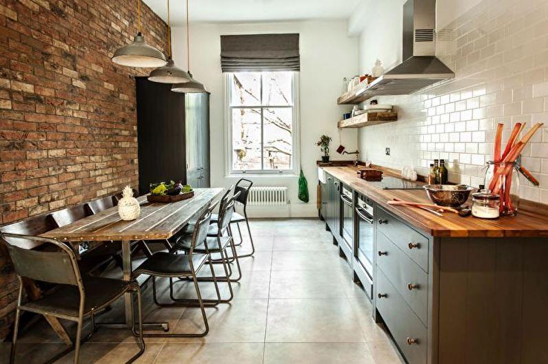 Узкая кухня в стиле лофт - Дизайн интерьера