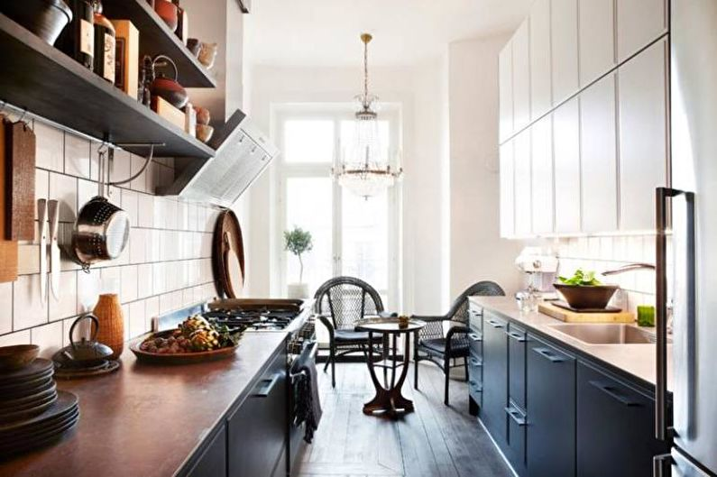 Дизайн узкой кухни - Ахроматические сочетания