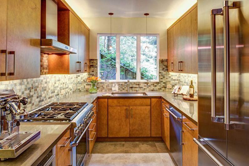 Дизайн узкой кухни - Теплые сочетания