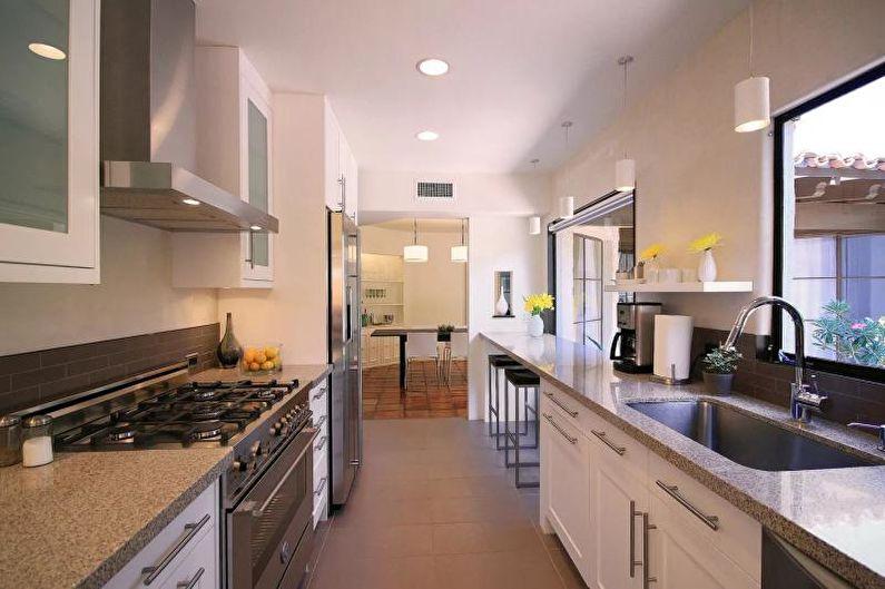 Дизайн узкой кухни - Отделка потолка