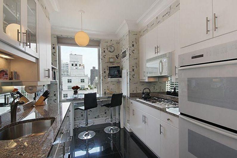 Дизайн узкой кухни - Отделка стен