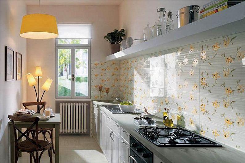Дизайн узкой кухни - Отделка фартука