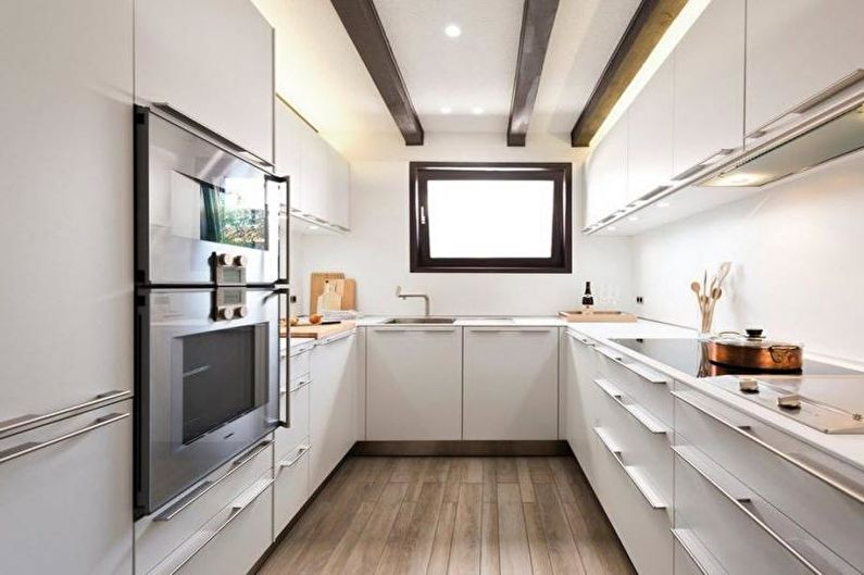 Дизайн узкой кухни - Отделка пола