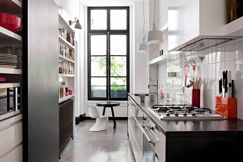 Дизайн интерьера узкой кухни - фото