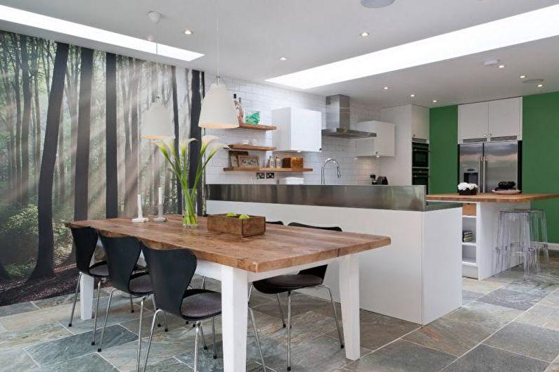 Фотообои на кухне в современном стиле