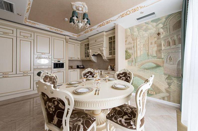 Фотообои на кухне в стиле современной классики