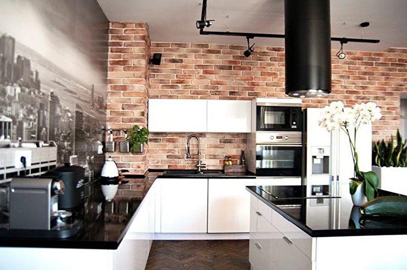 Фотообои на кухне в стиле лофт