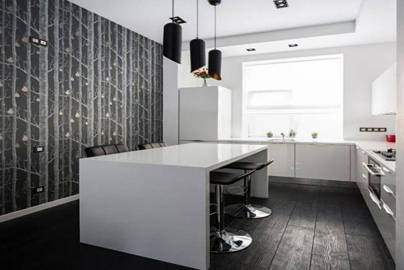 Черно-белые фотообои на кухню