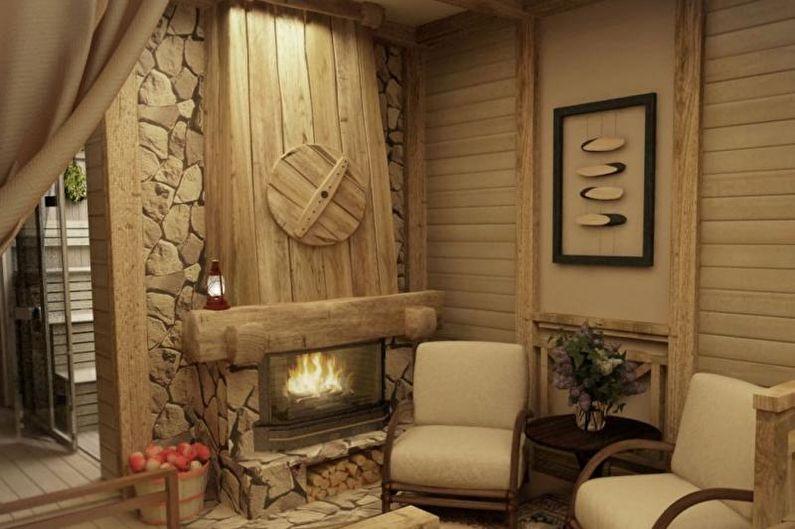 Баня в стиле кантри - Дизайн интерьера