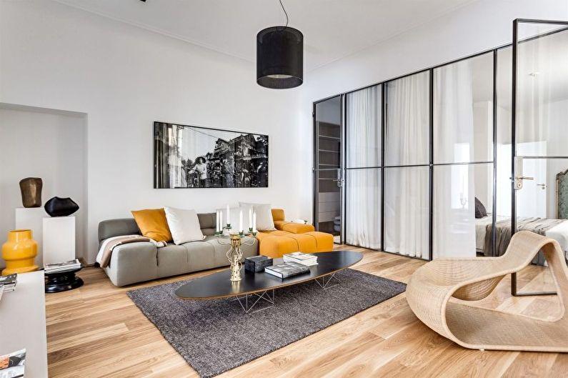 Белая гостиная в стиле минимализм - Дизайн интерьера