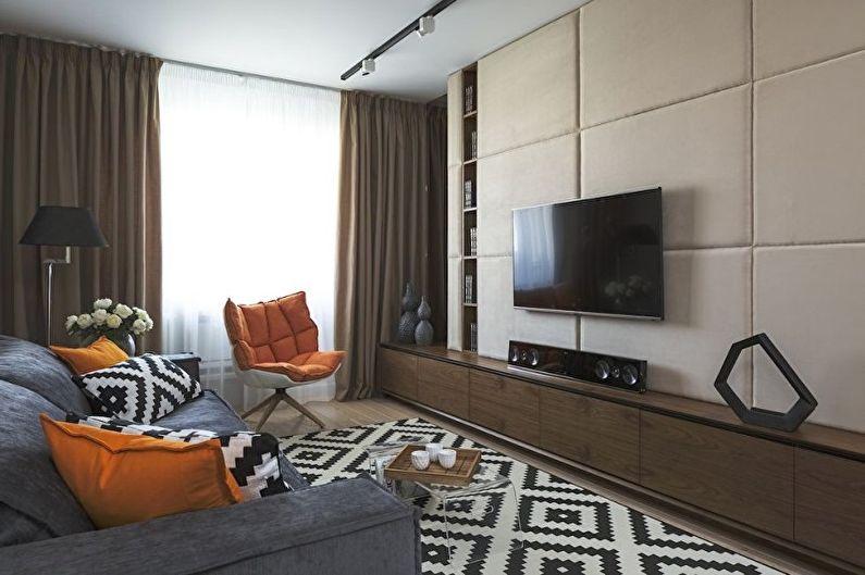 Коричневая гостиная в стиле минимализм - Дизайн интерьера