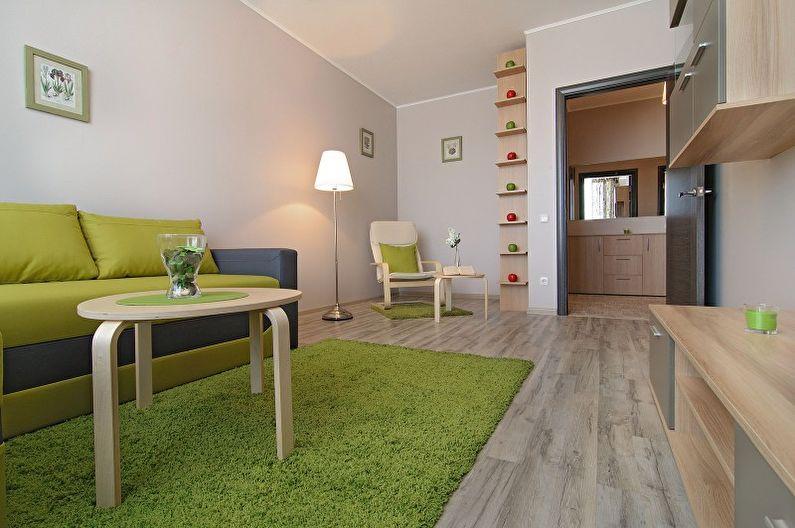 Зеленая гостиная в стиле минимализм - Дизайн интерьера