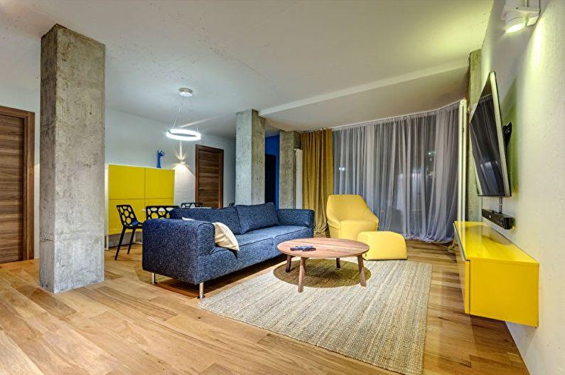 Желтая гостиная в стиле минимализм - Дизайн интерьера