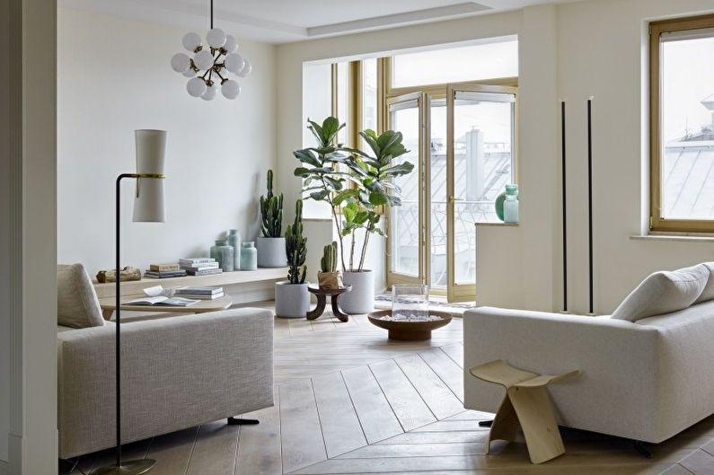 Дизайн гостиной в стиле минимализм - Отделка пола