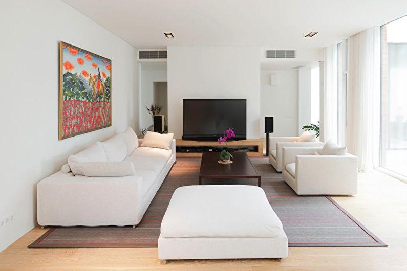 Дизайн гостиной в стиле минимализм - Отделка стен