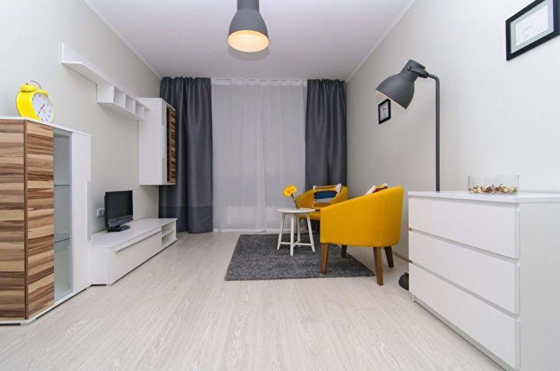 Дизайн гостиной в стиле минимализм - Отделка потолка