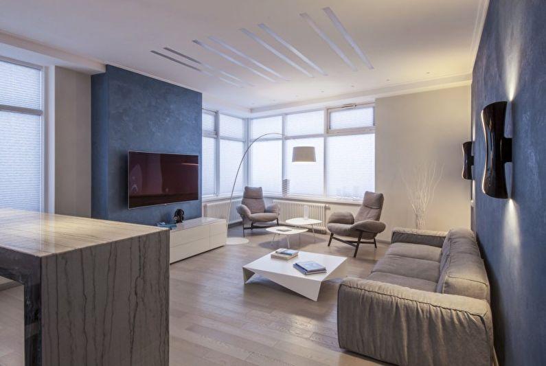 Дизайн интерьера гостиной в стиле минимализм - фото