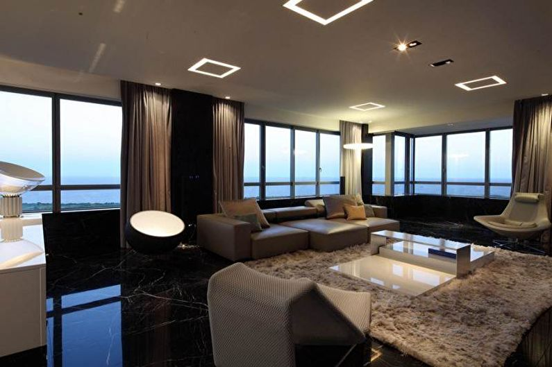Гостиная - Дизайн квартиры в стиле хай-тек