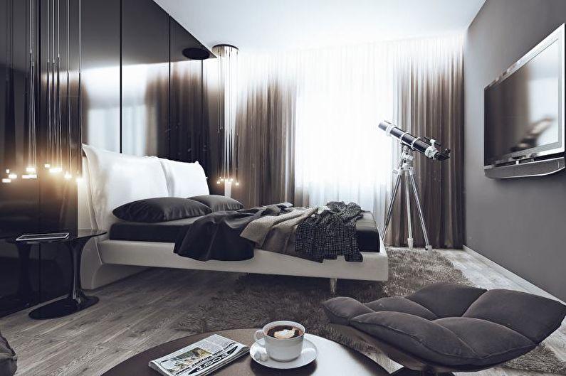 Спальня - Дизайн квартиры в стиле хай-тек