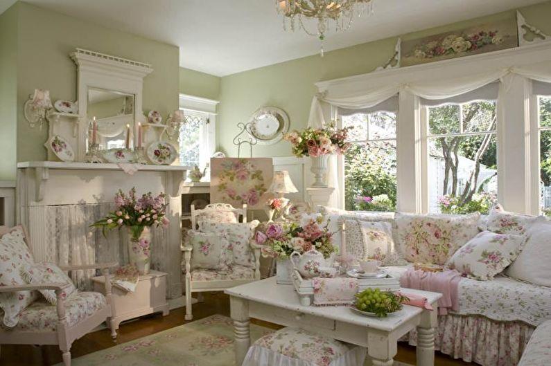 Белая гостиная в стиле прованс - Дизайн интерьера