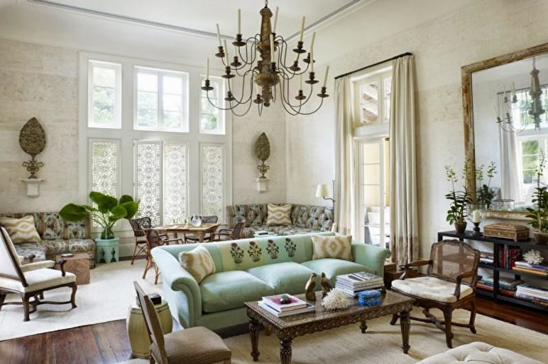 Гостиная в стиле прованс в пастельных тонах - Дизайн интерьера