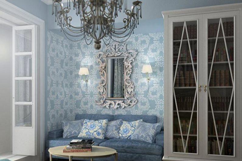 Синяя и лавандовая гостиная в стиле прованс - Дизайн интерьера