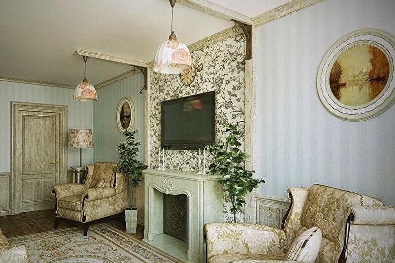 Зеленая гостиная в стиле прованс - Дизайн интерьера