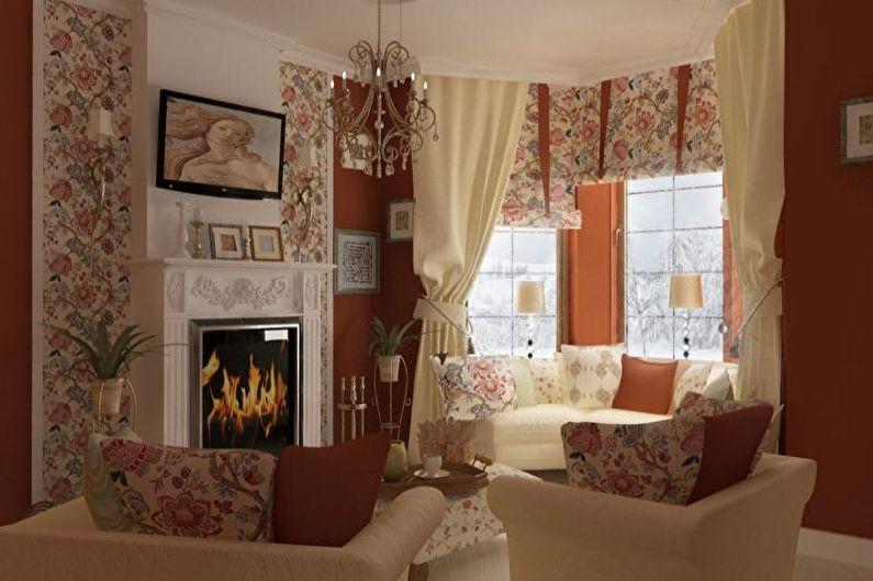 Гостиная в стиле прованс в ярких тонах - Дизайн интерьера