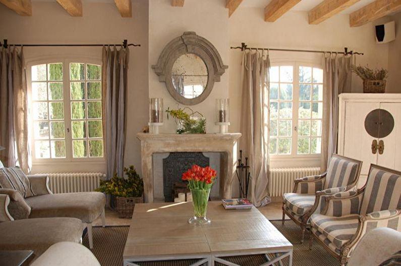 Дизайн гостиной в стиле прованс - Отделка стен