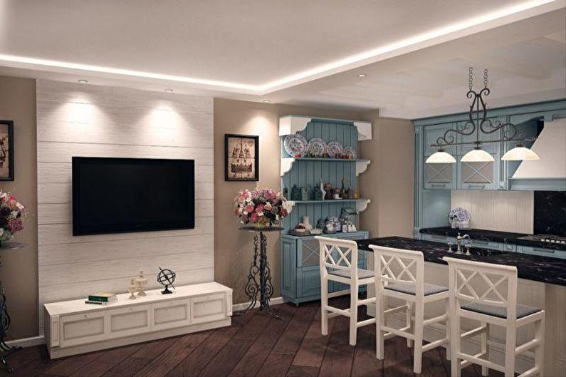 Дизайн гостиной в стиле прованс - Отделка потолка
